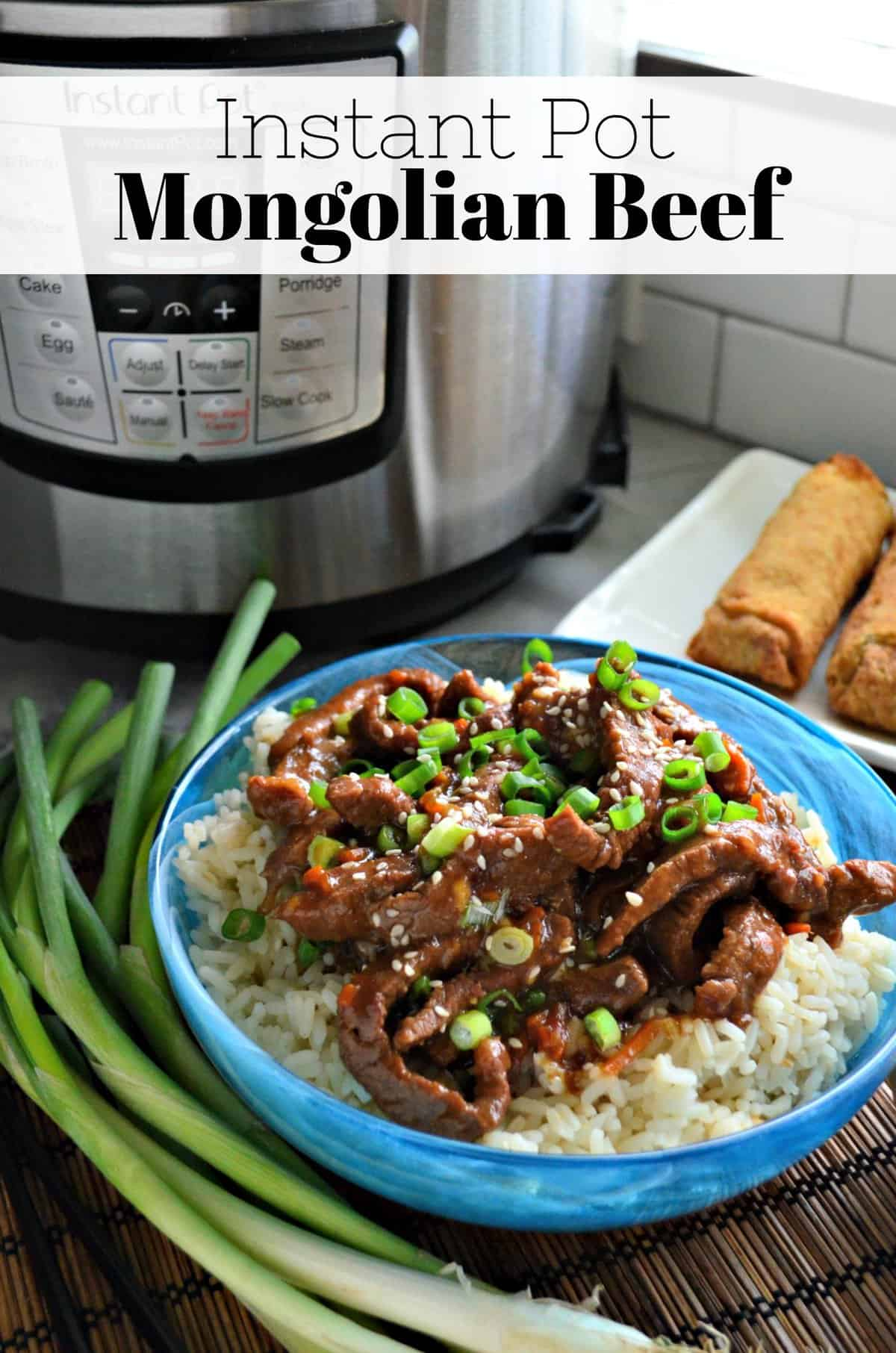 strips of mongolian beef with green onions and sesame seeds over bed of rice with title text.