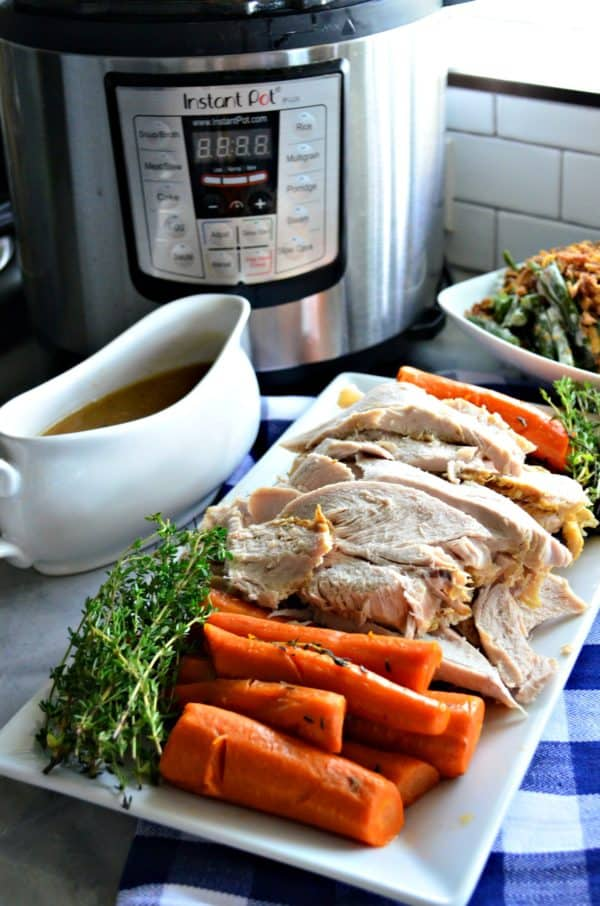 Instant Pot Turkey Breast with Carrots and Homemade Gravy Meal