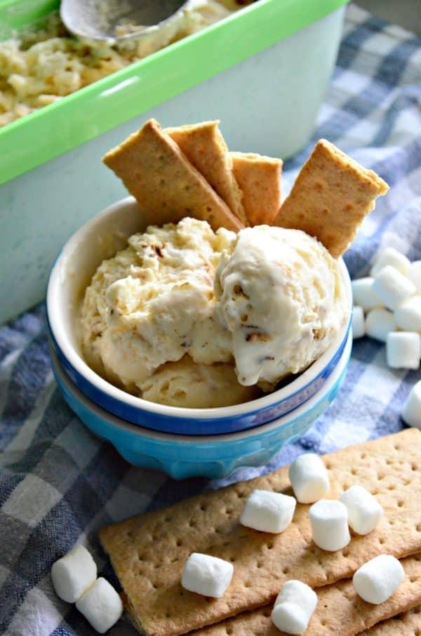 No-Churn Toasted Marshmallow Ice Cream Dessert Recipe