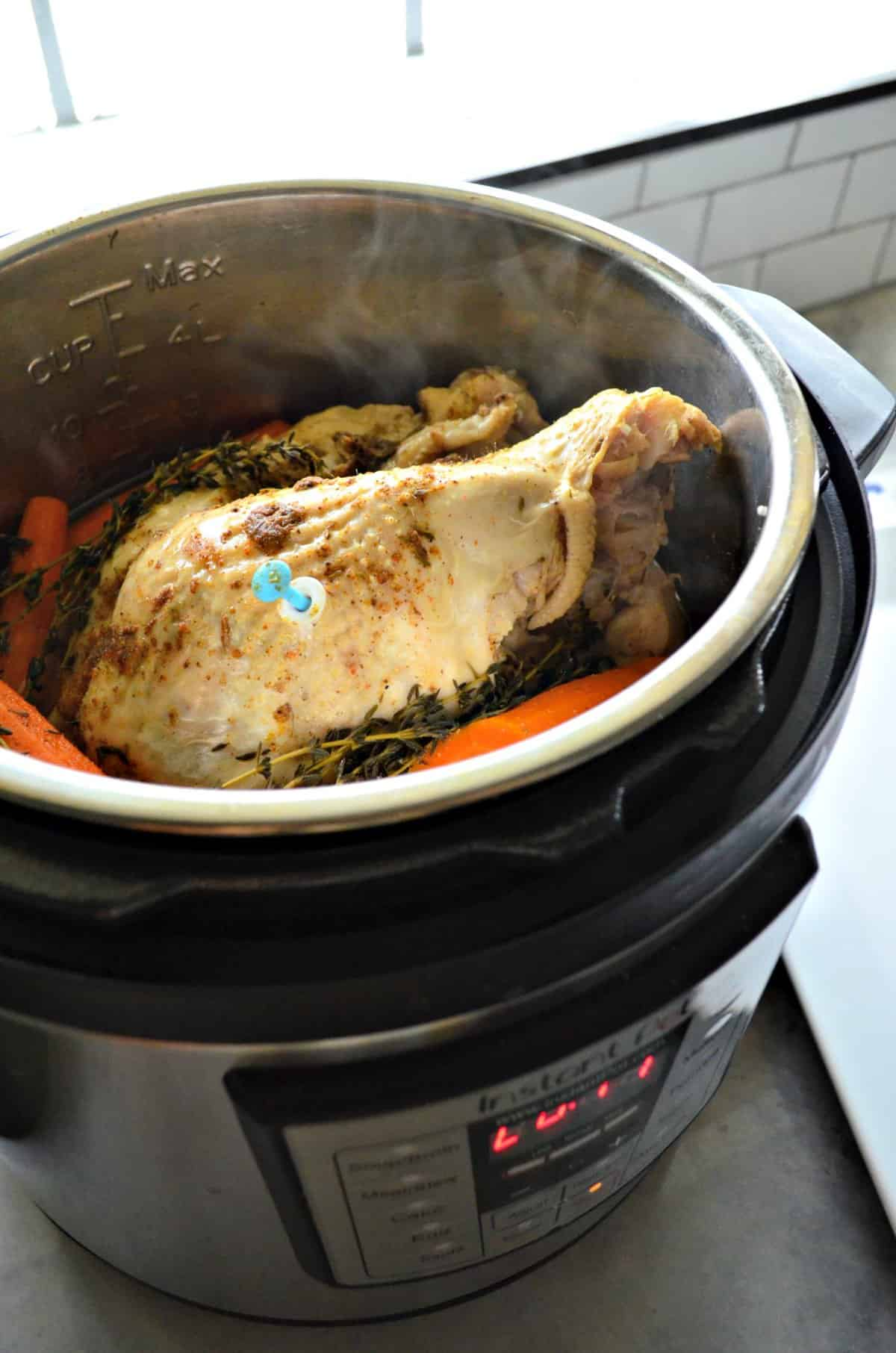 Turkey Breast in an instant pot with herbs and carrots.