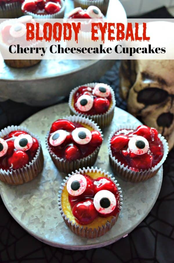 Bloody Eyeball Cherry Cheesecake Cupcakes