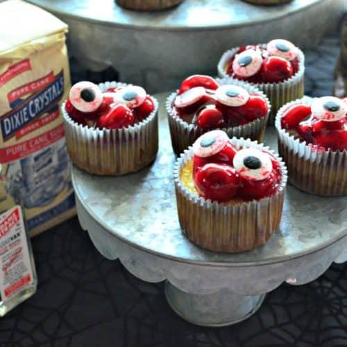 Bloody Eyeball Cherry Cheesecake Cupcakes
