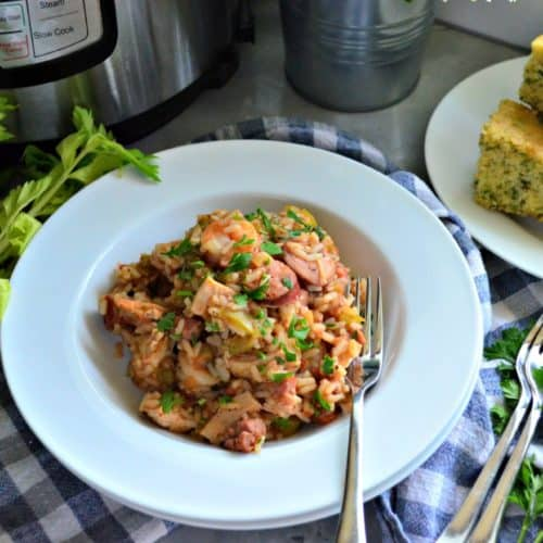 Instant Pot Chicken, Andouille Sausage, and Shrimp Jambalaya comfort food dinner