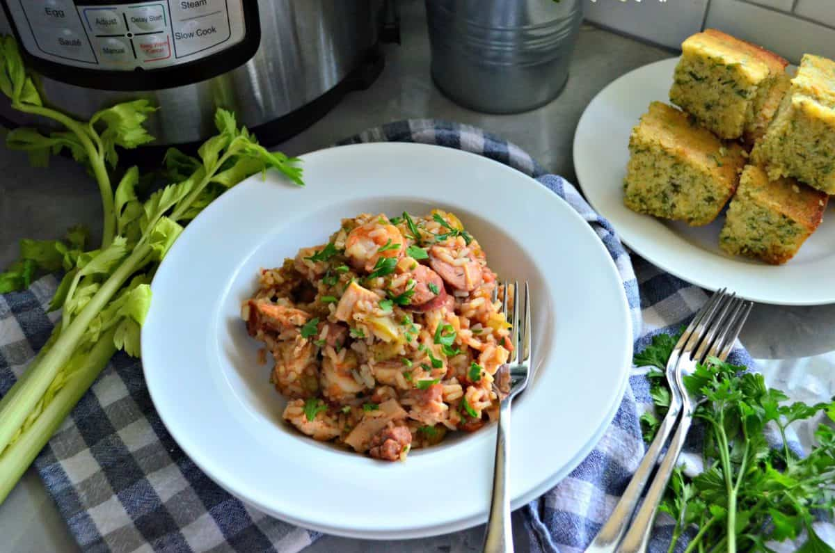 Instant Pot Chicken, Andouille Sausage, and Shrimp Jambalaya comfort food dinner