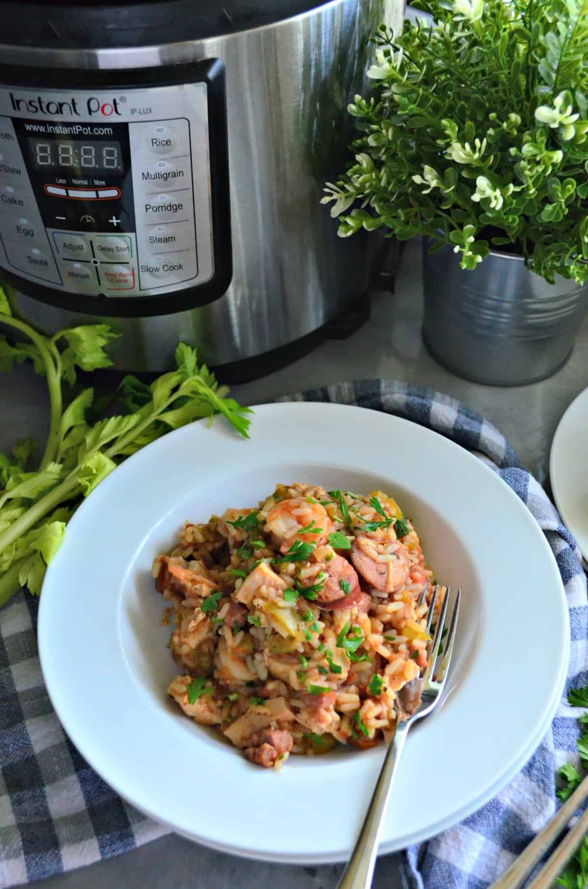 Instant Pot Chicken, Andouille Sausage, and Shrimp Jambalaya in a bowl with rice in front of instant pot.