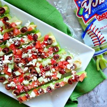 Mediterranean Stuffed Celery Sticks