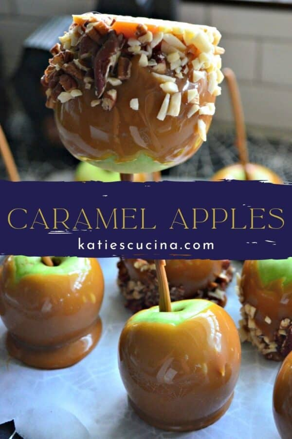 Two photos of caramel apples split by recipe title text on image for Pinterest.