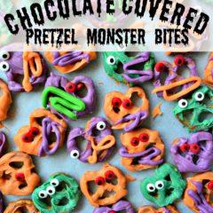 Chocolate Covered Pretzel Monster Bites