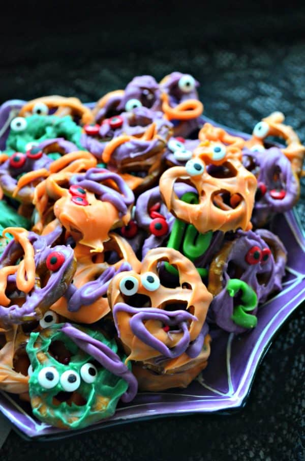 Chocolate Covered Pretzel Monster Bites