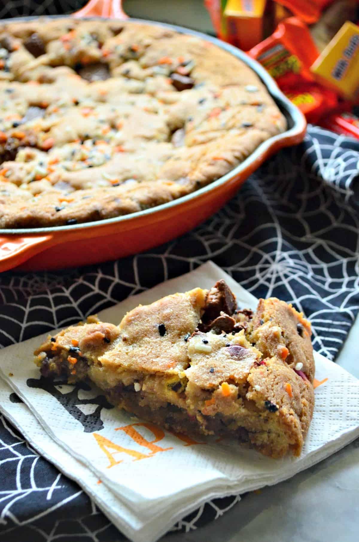 Halloween Candy Skillet Cookie Slice - Katie\'s Cucina