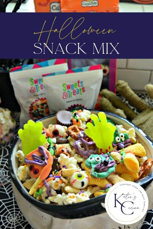 Snack mix filled with bugels, chocolates, pretzels, popcorn, and sprinkles with recipe title text on image for Pinterest.