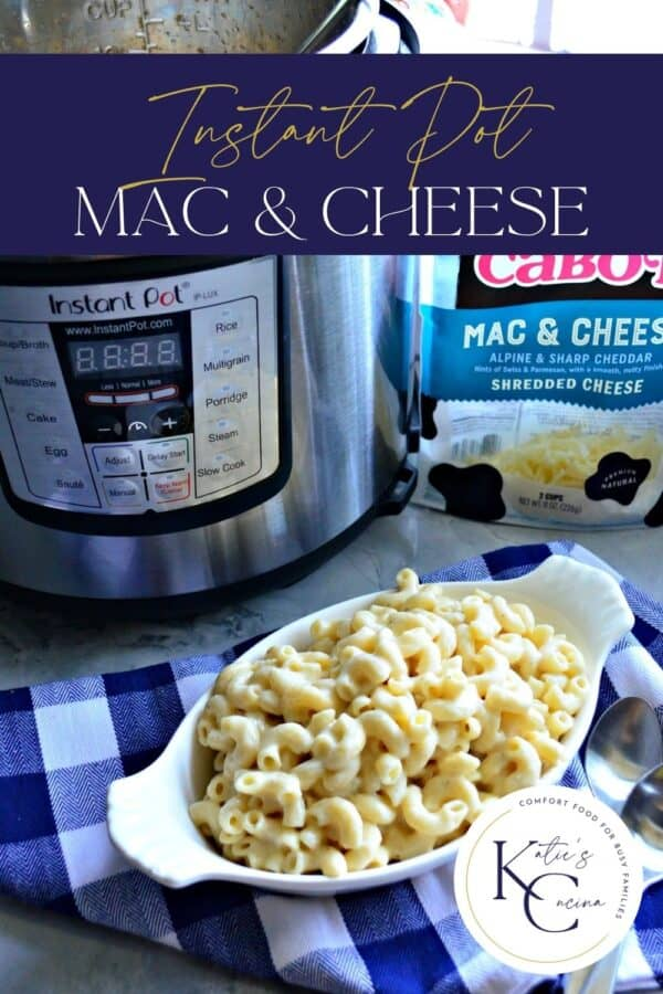 Top view of a dish of macaroni and cheese with recipe title and logo on corner for Pinterest.