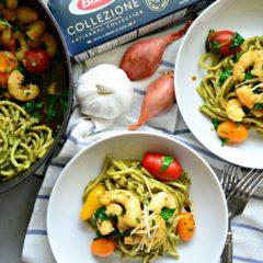 Pesto Bucatini with Shrimp and Grape Tomatoes