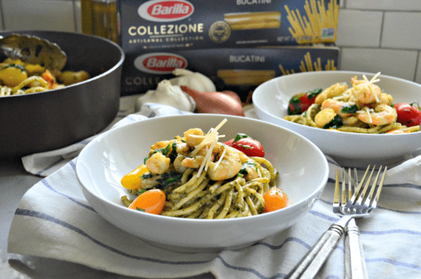Pesto Bucatini with Shrimp and Grape Tomatoes