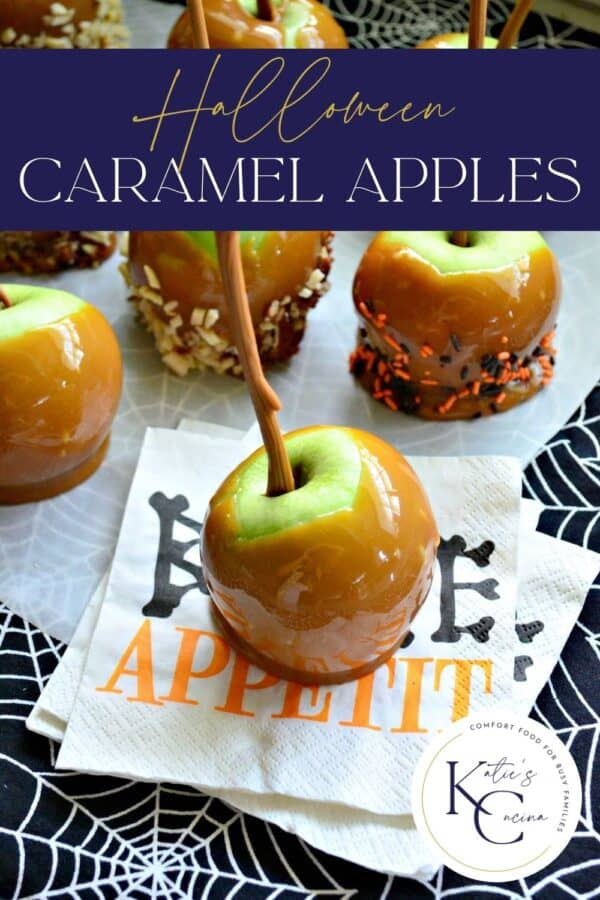 """Caramel apples on parchment with one on a """"bone appetite"""" napkin with recipe title text on image for Pinterest."""