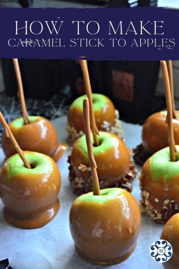 Eight caramel apples on parchment paper with recipe title text on image for Pinterest.