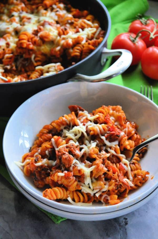 One Pot Supreme Pizza Pasta Skillet Dinner Recipe