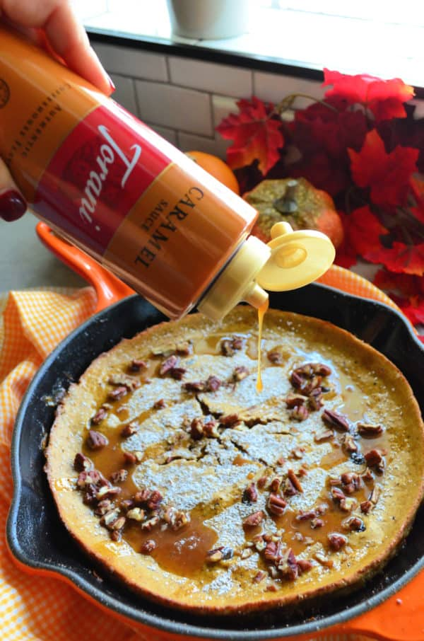 Pumpkin Spice Dutch Baby with Torani Caramel Sauce