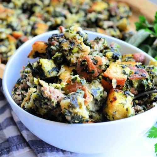 Sheet Pan Bread Stuffing with Sausage + Spinach