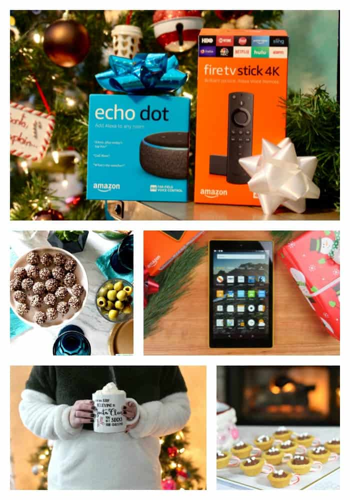 Collage of Amazon products with christmas decorations in each photo.