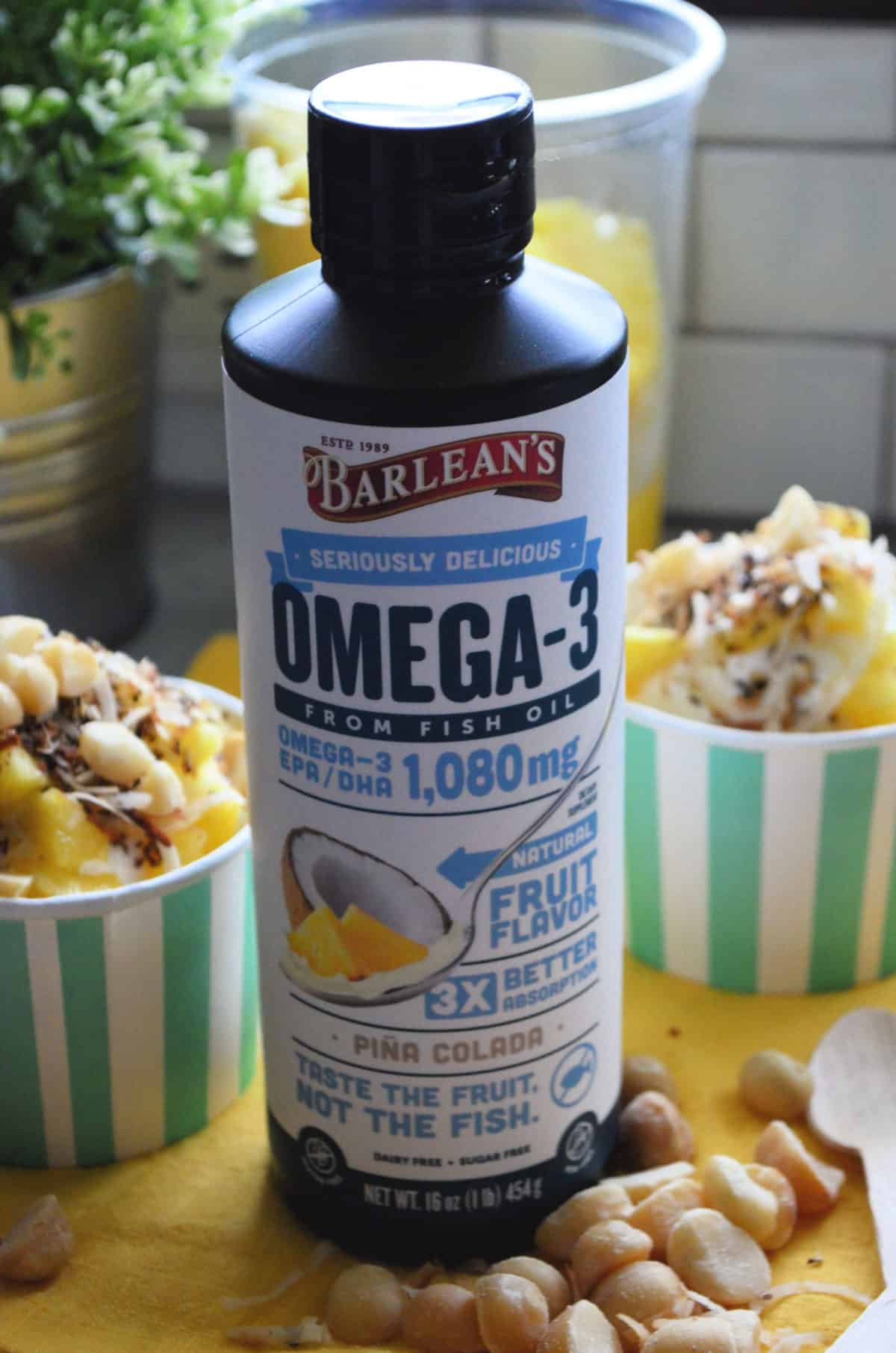 Seriously Delicious™ Omega-3 Fish Oil Piña Colada flavor in a bottle.
