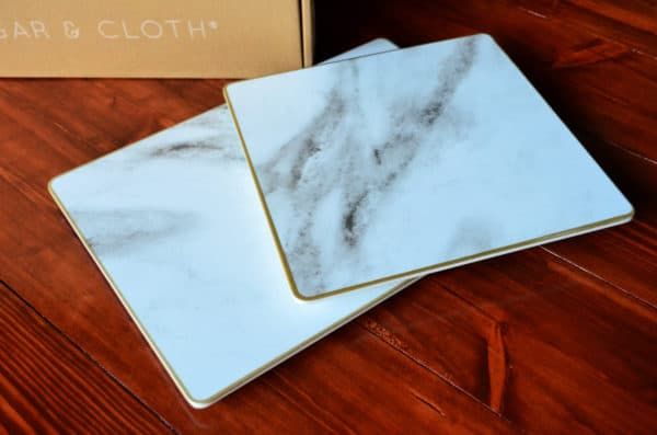 Sugar & Cloth Rectangular Marble Melamine Serving Trays