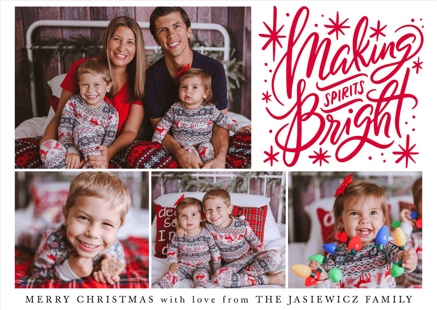 2018 Jasiewicz Family Christmas Card with 4 photos of mom, dad, son, and daughter.