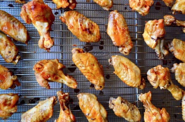 top view of chicken wings on baking rack.