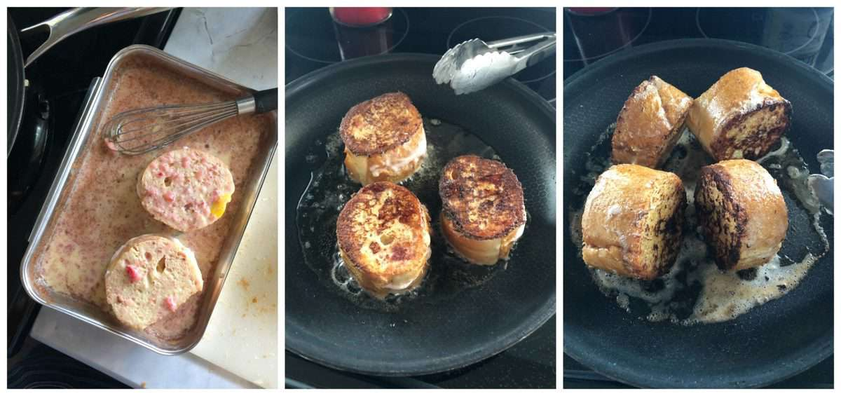 3 photo collage of strawberry cream cheese french toast being dipped in mixture and cooked in pan.