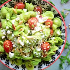 Arugula Pesto Pasta Salad with Grape Tomatoes