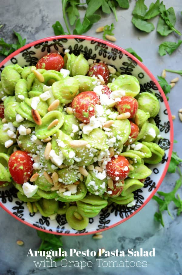 Arugula Pesto Pasta Salad with Grape Tomatoes
