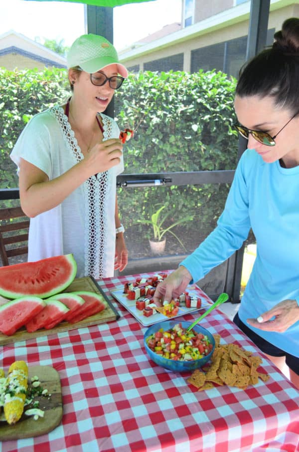 Watermelon Salsa and Feta and Watermelon Skewers