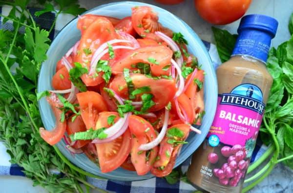 Tomato & Onion Salad Marinated with Balsamic Vinaigrette