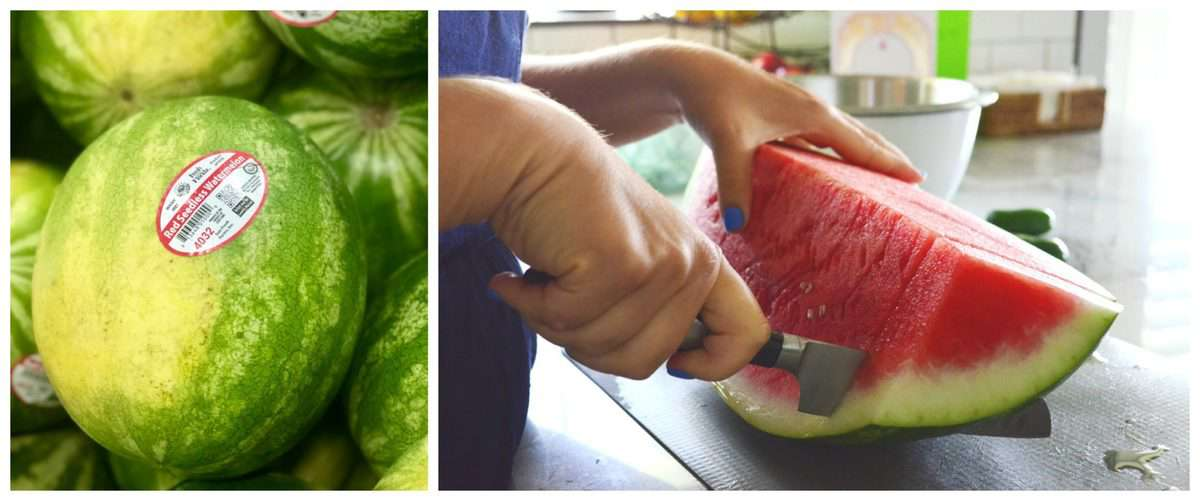 2 photo collage of whole watermelon vs watermelon being sliced on countertop.