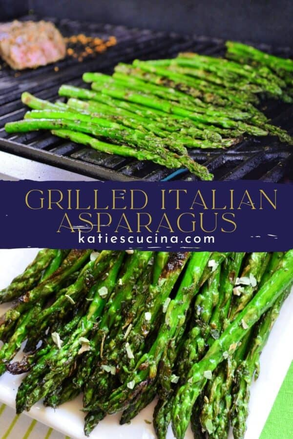 Two asparagus photos on grill split by recipe title text on image for Pinterest.