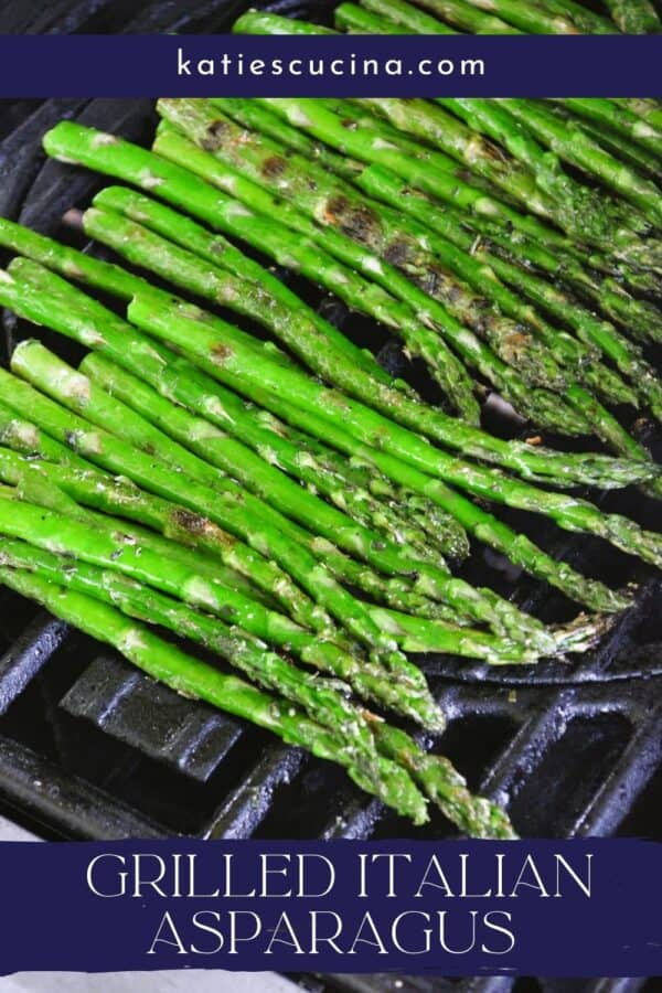 Top view of asparagus on a grill with title text on image for Pinterest.