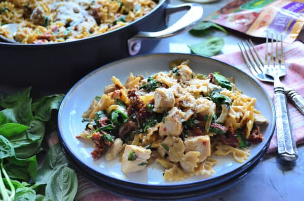 One Pot Creamy Smoked Sun Dried Tomato Pasta with Chicken Dinner
