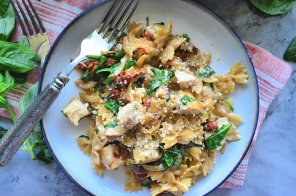 One Pot Creamy Smoked Sun Dried Tomato Pasta with Chicken Photo