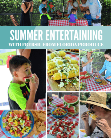 Summer Entertaining with Fresh From Florida Produce photo collage with pinterest title.