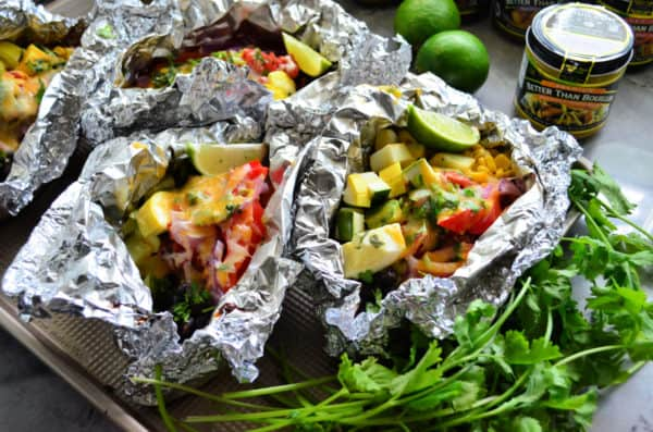 Grilled Mexican Chicken & Rice Foil Packets Dinner