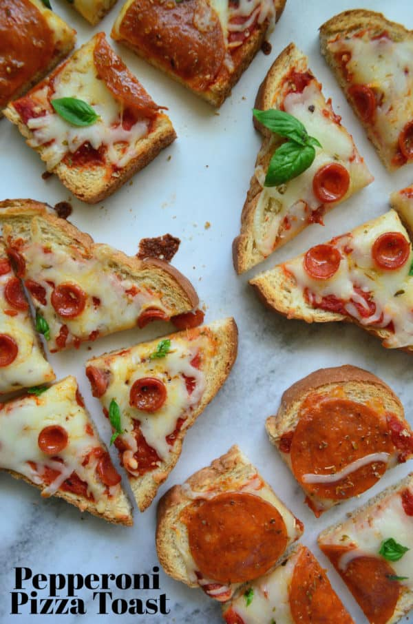 4 Slices of Pepperoni Pizza Toast cut into bite size pieces with pinterest title text.