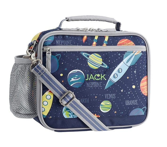 Pottery Barn Kids Cold Pack Mackenzie Lunch Box with solar system print.