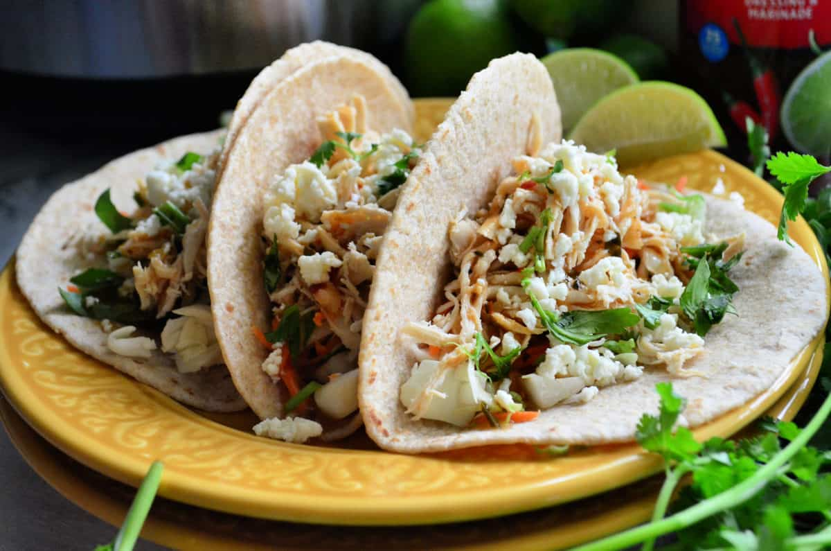Electric Pressure Cooker Sriracha Lime Chicken Tacos
