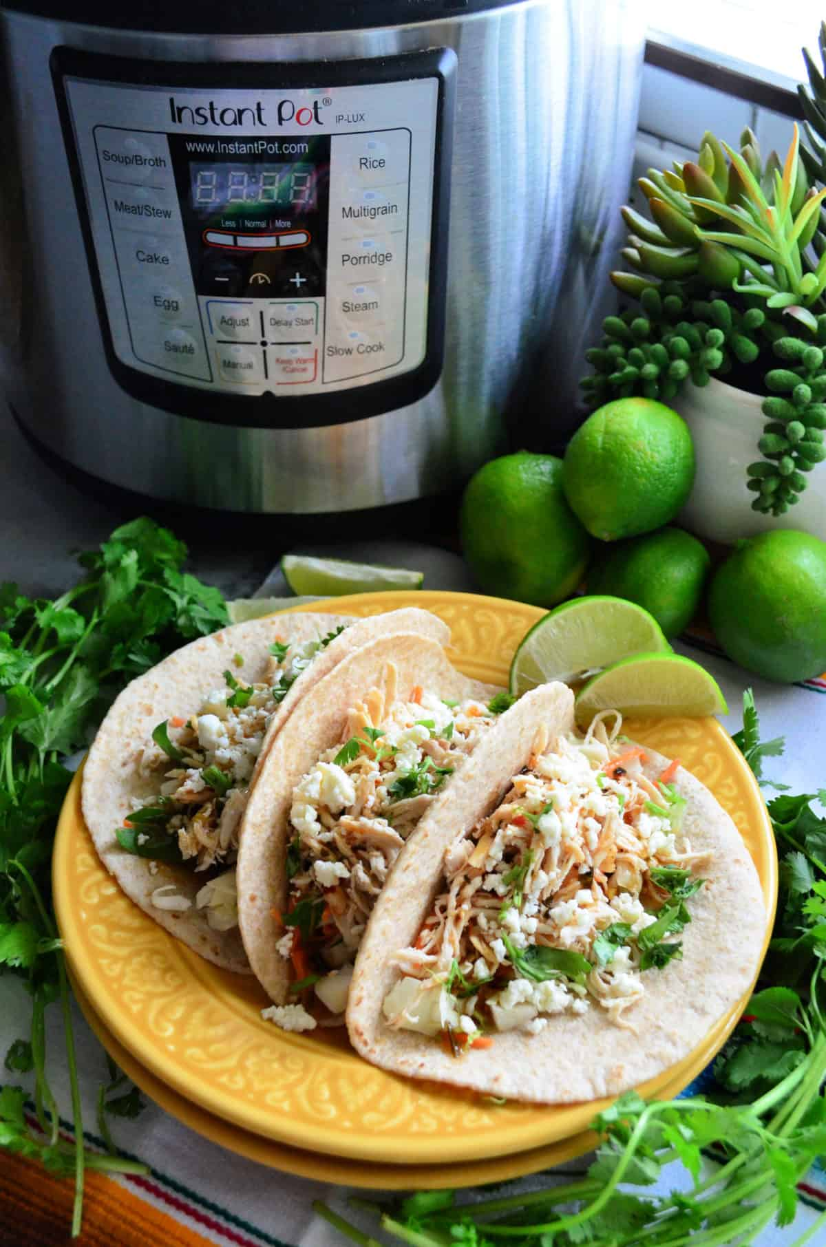 Instant Pot Cooker Sriracha Lime Chicken Tacos Recipe