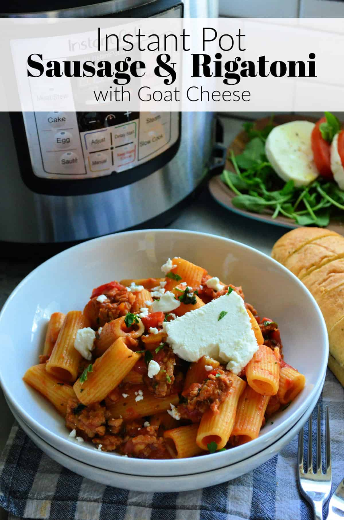 Plated Rigatoni noodles with meaty red sauce, basil, and cheese in front of instant pot with title text.
