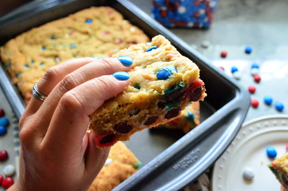 Patriotic M&M Cookie Bars Dessert