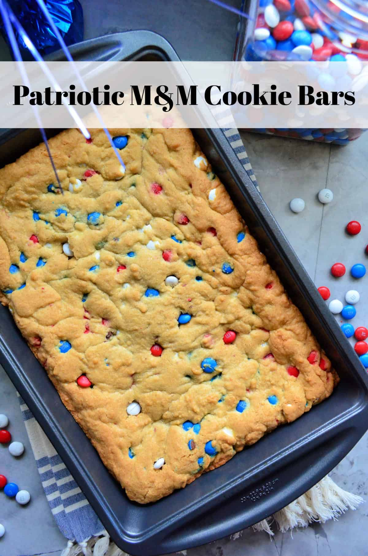 Patriotic M&M Cookie Bars