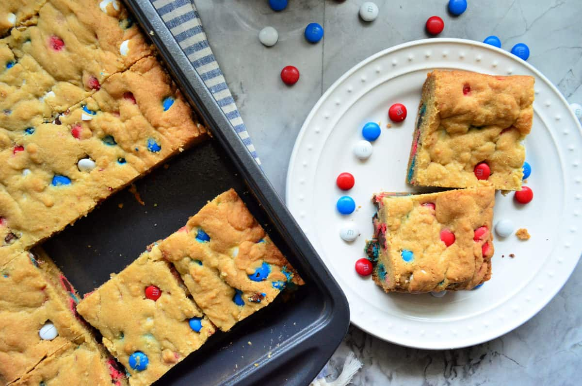 Patriotic Red White & Blue M&M Cookie Bars