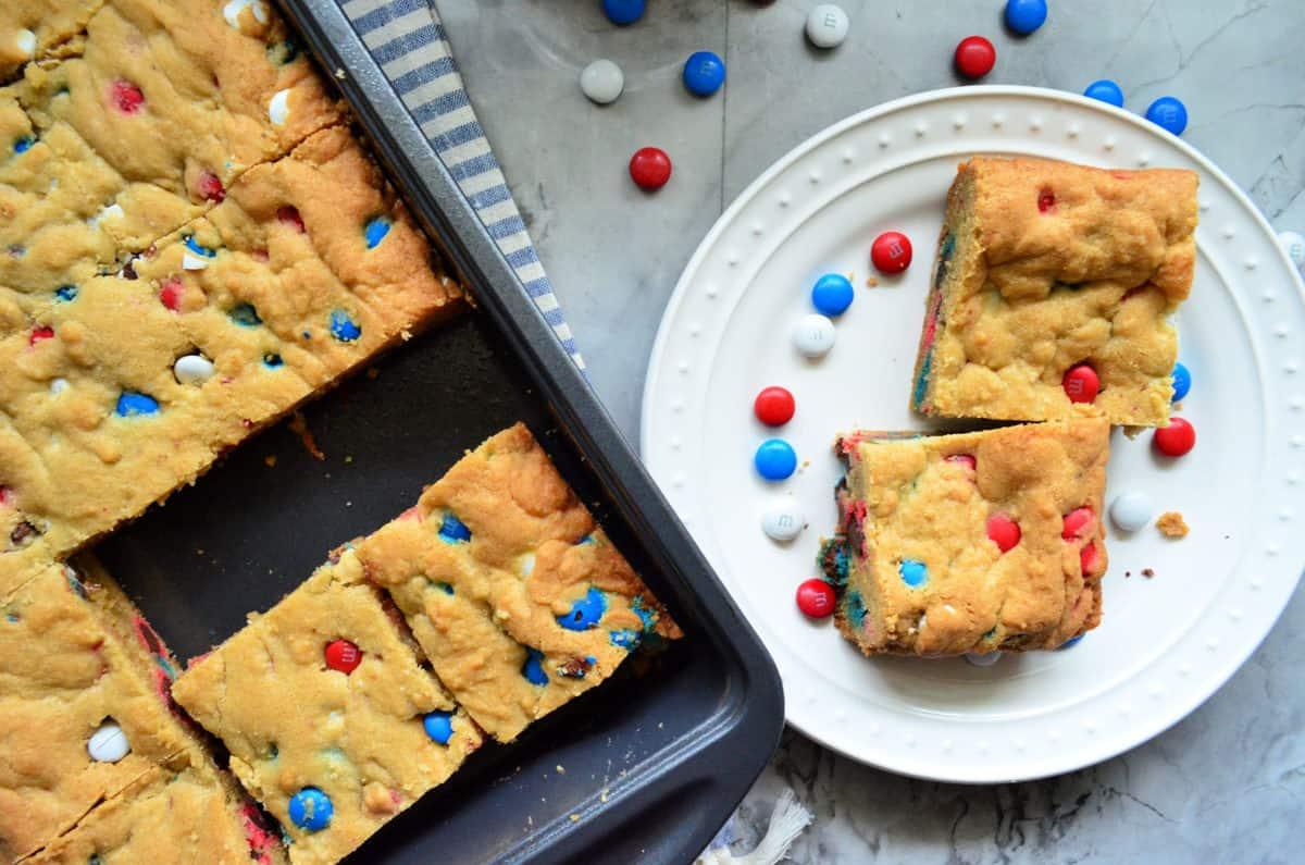 Patriotic Red White & Blue M&M Cookie Bars
