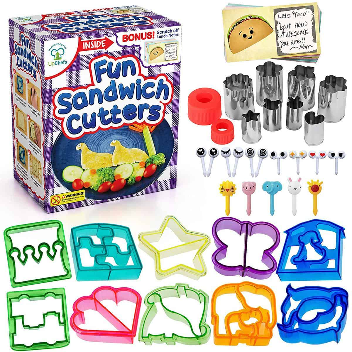 UpChefs Sandwich Cutters for kids box and items laid out with white background.